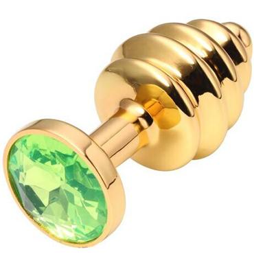 CanWin Ребристая анальная пробка, золотой/зеленый С кристаллов в основании canwin анальная пробка золотой прозрачный с кристаллов в основании