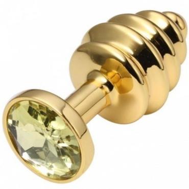 CanWin Ребристая анальная пробка, золотой/желтый С кристаллов в основании