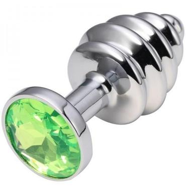 CanWin Ребристая анальная пробка, серебристый/зеленый С кристаллов в основании jd коллекция зеленый малый размер