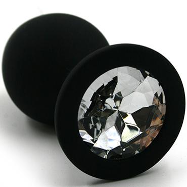 Funny Steel Anal Plug Silicone Large, черный/прозрачный Анальная пробка с кристаллом sitabella хлопалка ладонь красный с жесткой рукояткой