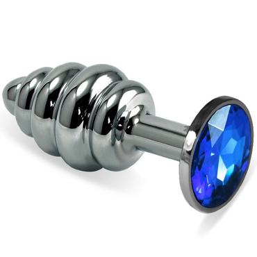 Funny Steel Anal Plug Al Medium, серебристый/синий Анальная пробка с кристаллом и ребристой поверхностью you2toys anal experiment черная анальная пробка с кольцом