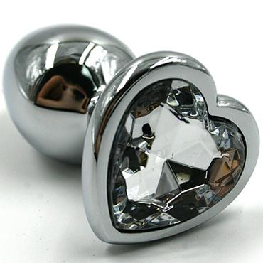 Funny Steel Anal Plug Al Small, серебристый/синий Анальная пробка с кристаллом в форме сердца чулки obsessive sedusia stockings размер l xl