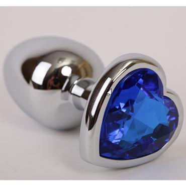 Funny Steel Anal Plug Al Medium, серебристый/синий Анальная пробка с кристаллом в форме сердца lovetoys butt plug silver розовый большая анальная пробка украшена кристаллом
