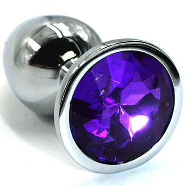 Funny Steel Anal Plug Small, серебристый/фиолетовый Анальная пробка с кристаллом анальный массажер sexus glass 13 5 см