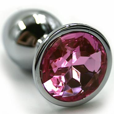 Funny Steel Anal Plug Medium, серебристый/розовый Анальная пробка с кристаллом анальная пробка slim anal plug medium черная