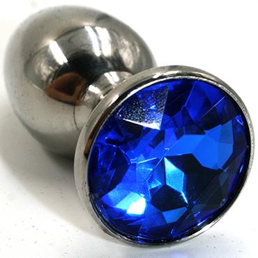 Funny Steel Anal Plug Medium, серебристый/синий Анальная пробка с кристаллом 5 hjnbxtcrbt маски цвет синий