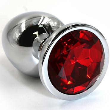 Funny Steel Anal Plug Medium, серебристый/красный Анальная пробка с кристаллом funny steel anal plug medium серебристый розовый анальная пробка с кристаллом