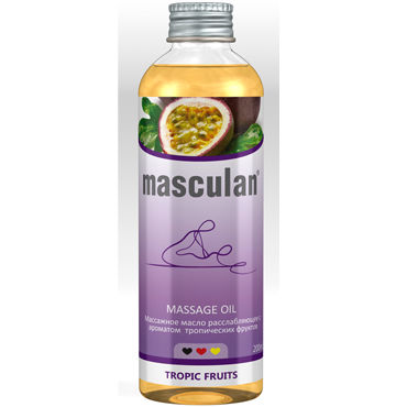Masculan Massage Oil Tropic Fruits, 200 мл Массажное масло с тропическим ароматом dona kissable massage oil strawberry souffle 110 мл ароматическое массажное масло клубника