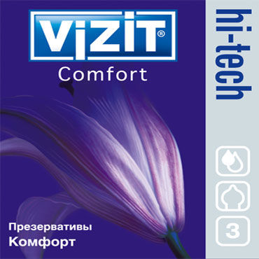 Vizit Hi-Tech Comfort Презервативы анатомической формы vizit презервативы hi tech ultra light ультратонкие 12 шт