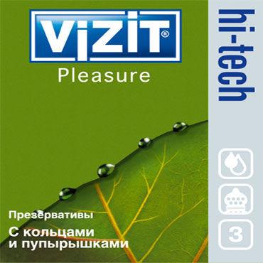 Vizit Hi-Tech Pleasure Презервативы анатомической формы с кольцами и пупырышками анальная пробка ребристая silver small с изумрудной вставкой в коробочке