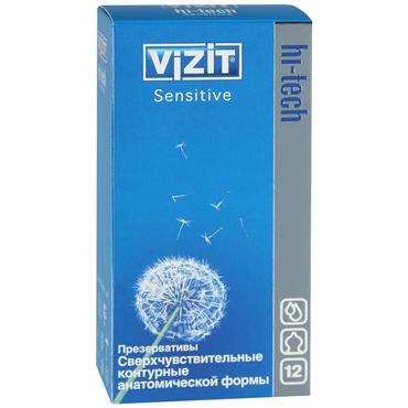 Vizit Hi-Tech Sensitive Презервативы особой анатомической формы vizit презервативы hi tech sensitive сверхчувствительные контурные анатомической формы 12 шт