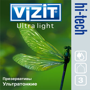Vizit Hi-Tech Ultra Light Презервативы ультратонкие vizit hi tech comfort презервативы анатомической формы