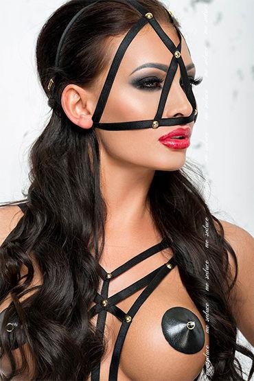 Me Seduce Маска из лент, черная С золотой фурнитурой маска me seduce с ушками красная os