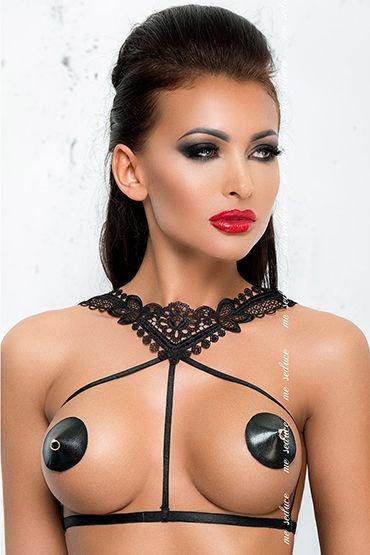 Me Seduce Портупея Harness 4, черная С кружевным воротничком портупея me seduce красная os