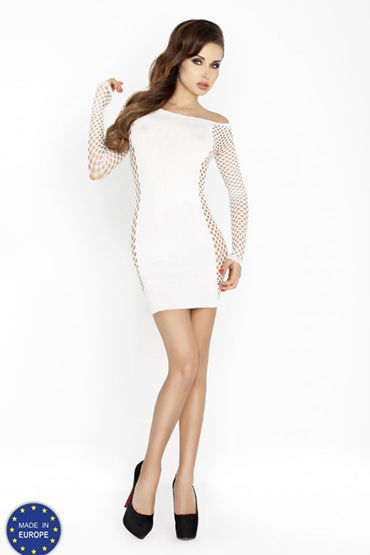 Passion Кокетка, белое Платье с длинным рукавом art style 2 телесный реалистичный многоскоростной вибратор