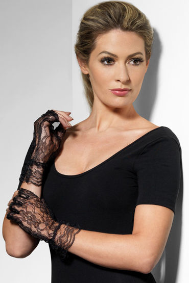 Fever Fingerless Lace Gloves Кружевные перчатки pair of stylish solid color see through long lace fingerless gloves for women