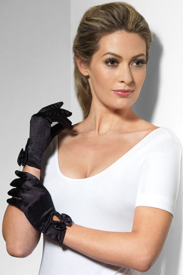 Fever Short Gloves with Bow, черные Короткие перчатки hot cilitoris vagina tightening xxs 30мл