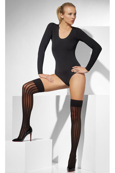 Fever Sheer Hold-Ups with Vertical Stripes, черные