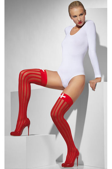 Fever Sheer Hold-Ups with Vertical Stripes and Cross Print Чулки для медсестры fever opaque hold ups with red bows and cross applique чулки для медсестры