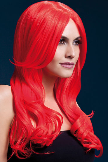 Fever Khloe Wig Neon Red Парик, с длинными волосами ombre grey dark root straight wig synthetic lace front glueless hair wig heat resistant fibers lace wig with baby hair
