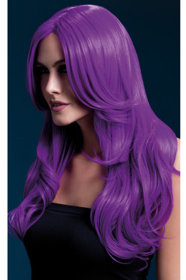 Fever Khloe Wig Neon Purple Парик, с длинными волосами ombre grey dark root straight wig synthetic lace front glueless hair wig heat resistant fibers lace wig with baby hair