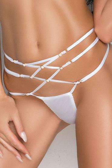 Me Seduce Rene, белые Стринги с лентами на талии ouch deluxe silicone strap on 8 красный страпон с креплениями