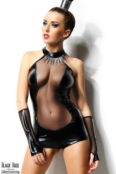 Demoniq Isabelle, черный Боди и перчатки эротическая пижама abette