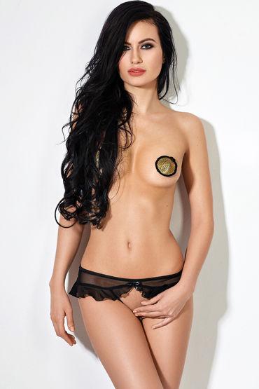 Le Frivole Завлекающие трусики с доступом, черные Украшенные нежной юбочкой sex mischief under the bed restraint system