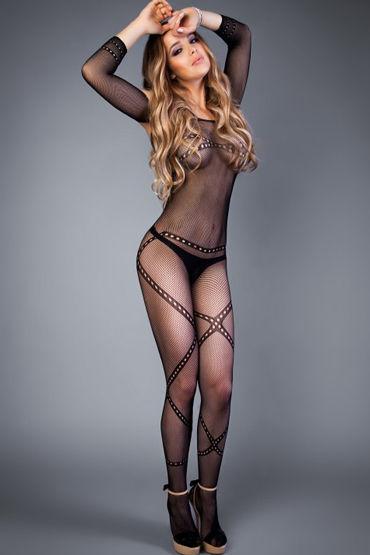 le frivole грязный коп невероятно эротичный костюм Le Frivole Impulse Боди-комбинезон, черный Декорированный перекрещивающимися линиями