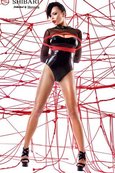 Demoniq Shibari Aimi, черное Боди с длинными рукавами, в комплекте веревки для связывания seven til midnight комплект бюстье с пажами для чулок и трусики
