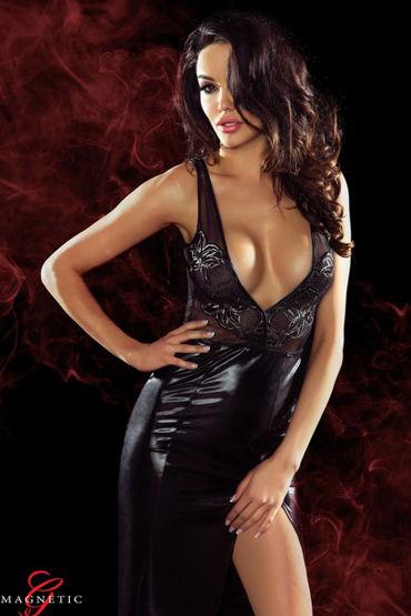 Demoniq Magnetic Jacqueline, черное Длинное платье с глубоким декольте и цветочной вышивкой fun factory sonic оранжевый гибкий двусторонний фаллоимитатор