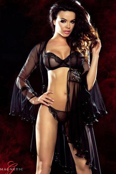 Demoniq Magnetic Cassandra, черное Пеньюар с вышивкой roxana комплект розовый с рюшами с черной кружевной тесьмой