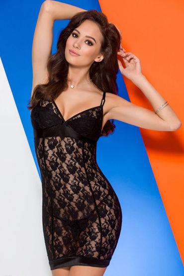 Avanua Luna Сорочка, черная С цветочным узором черная сорочка и стринги angela xxl 3xl