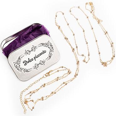 Dolce Piccante Golden Balls Колье на тело с золотыми бусинами эротическая одежда и обувь cottelli collection