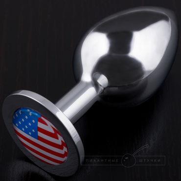 Пикантные штучки Большая анальная пробка С изображением флага США пикантные штучки большая анальная пробка золотая с рубиновым кристаллом