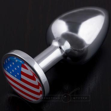 Пикантные штучки Маленькая анальная пробка С изображением флага США пикантные штучки большая анальная пробка золотая с фиолетовым кристаллом