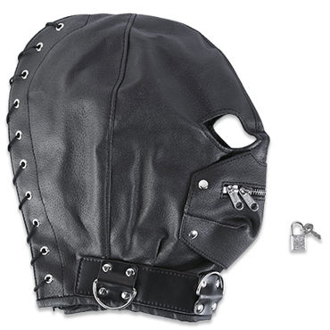 Пикантные штучки БДСМ-маска С молнией шлем для жесткого бдсм master series