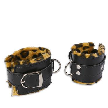 Пикантные штучки Манжеты, леопардовые С кольцами пикантные штучки широкий ошейник с поводком