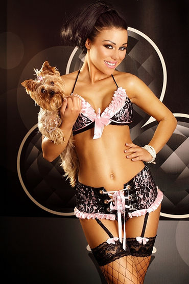 Lolitta Flirty Set, черно-розовый Очаровательный комплект lolitta female розовый комплект из топа с поясом и трусиков
