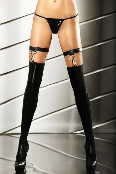 Lolitta Extraordinary Stockings, черные Изысканные лаковые чулочки чулки coquette в мелкую сетку под пояс черные os