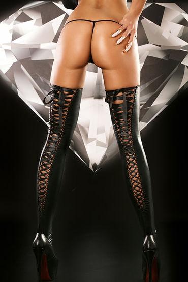 Lolitta Lacing Stockings, черные Чулки на черной шнуровке wild lust анальная пробка 40 мм черная с тонированным лисьим хвостом