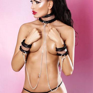 Lolitta Frivolous Collar With Cuffs, черный Ошейник с наручниками стандартного размера ошейник черный с цепью petra black