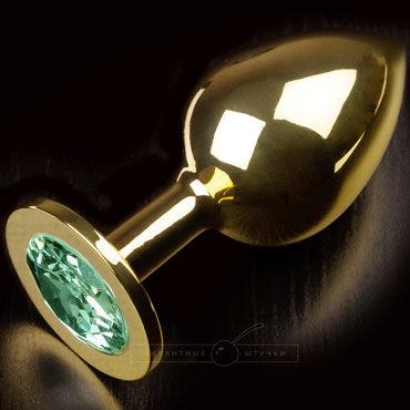 Пикантные штучки Большая анальная пробка, золотая С изумрудным кристаллом bathmate eight черное перезаряжаемое виброкольцо