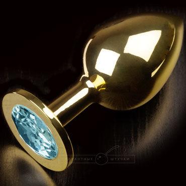 Пикантные штучки Большая анальная пробка, золотая С голубым кристаллом пикантные штучки большая анальная пробка золотая с фиолетовым кристаллом
