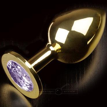 Пикантные штучки Большая анальная пробка, золотая С сиреневым кристаллом luxurious tail анальная пробка золотая с прозрачным кристаллом
