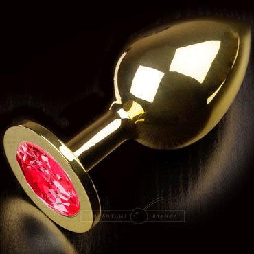 Пикантные штучки Большая анальная пробка, золотая С красным кристаллом корсет и стринги janet l xl