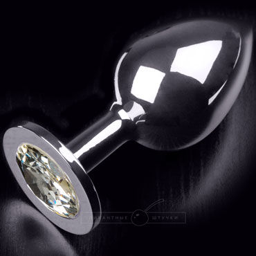 Пикантные штучки Большая анальная пробка, серебристая С прозрачным кристаллом серебристая пробка с пушистым хвостиком