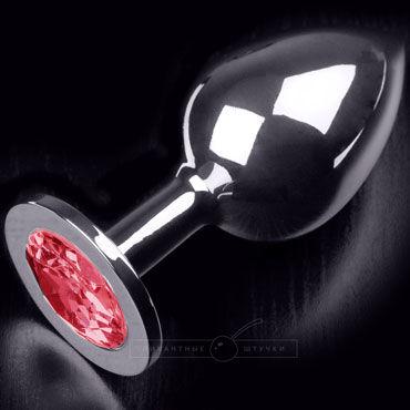 Пикантные штучки Большая анальная пробка, серебристая С рубиновым кристаллом серебристая пробка с пушистым хвостиком