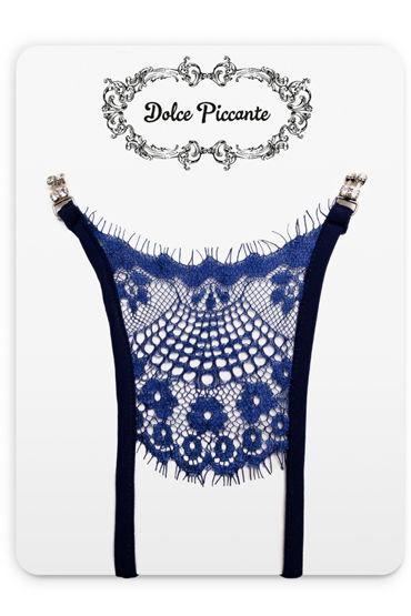 Dolce Piccante Сiglia Открытые трусики, синие Из французского кружева Экрю roxana комплект розовый с рюшами с черной кружевной тесьмой