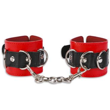 Пикантные штучки Манжеты с ремешком, красно-черные С тремя парами колец sitabella широкие манжеты черный с тремя регулируемыми пряжками